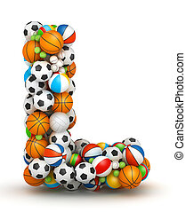 Letter L, gaming balls alphabet - Letter L, stacked from...