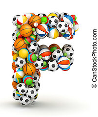 Letter F, gaming balls alphabet - Letter F, stacked from...