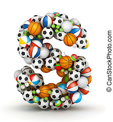 Letter S, gaming balls alphabet - Letter S, stacked from...