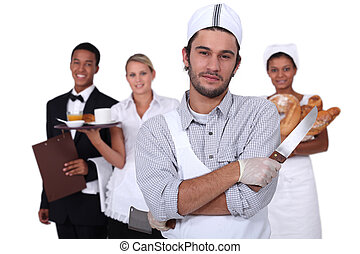 People working in the service sector