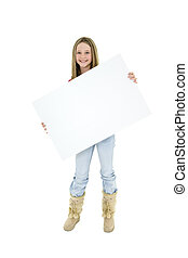 Child holding sign - Caucasian child holding a blank sign so...