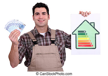 Worker holding money and an energy efficiency rating chart