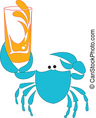 Orange juice - Vector illustration: Blue crab offering...