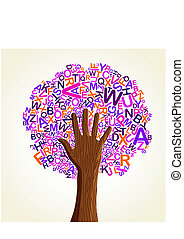 Learn to read at school education concept tree hand. Vector...