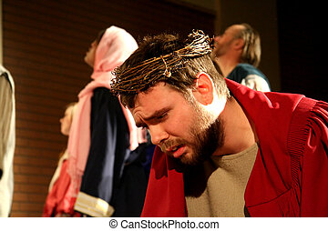 Anguish - Jesus waits in anguish as the crowd taunts with...