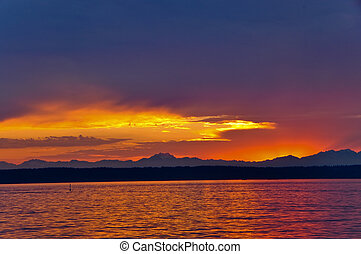 Sunset on Puget Sound - Beautiful sunset on Puget Sound,...
