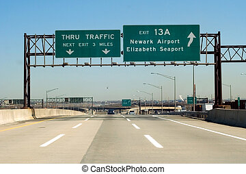 NJ Turnpike I-95 exit to Newark and Elizabeth, New Jersey