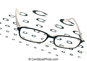 black glasses on a eye sight test chart