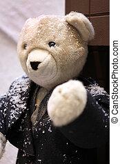 Teddy bear wearing jacket in the snow
