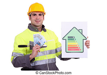 Manual worker showing benefits of energy efficiency