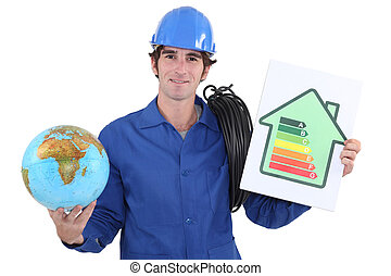 Electrician with a globe and an energy rating sign