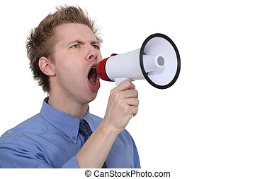 Man yelling into a megaphone