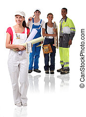Young building workers isolated on white background