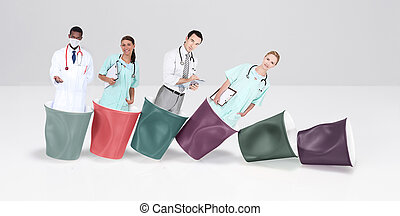 doctors and nurses in cups of coffee