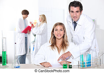 science student in the lab
