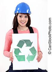 reciclaje, logotipo, mujer, flecha, tenencia