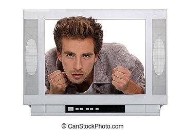 enojado, hombre, atrás, pantalla