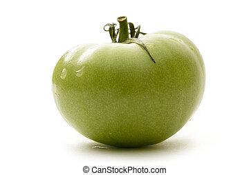 Green tomato on white background