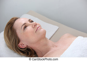 Woman waiting to have a massage