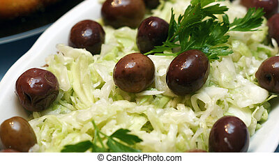 cabbage salad with olives