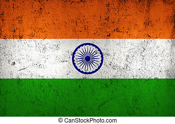 Grunge Dirty and Weathered Indian Flag, Old Metal Textured