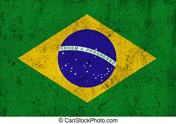 Grunge Dirty and Weathered Brazilian Flag, Old Metal...