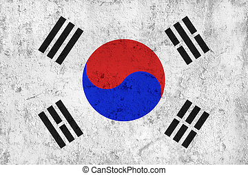 Grunge Dirty and Weathered South Korean Flag, Old Metal...