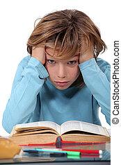 cansado, escola, criança