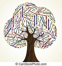 School art education concept tree made with crayons. Vector...