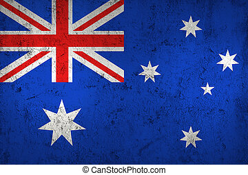 Grunge Dirty and Weathered Australian Flag, Old Metall...