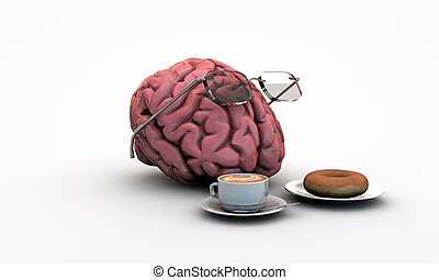 intellectual brain making breakfast with cappuccino and...