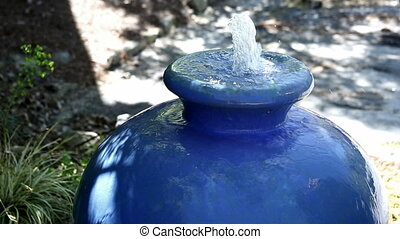 Blue Pottery Water Fountain - blue pottery water fountain...