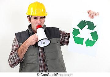 artesano, Hablar, altavoz, actuación, reciclaje, logotipo