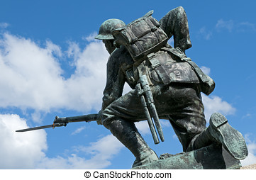 World War I Monument - A World War I monument. The soldier...