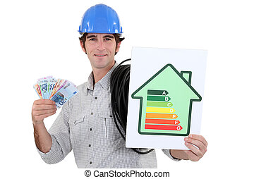 Man holding energy-rating poster and cash