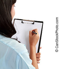 medical doctor woman taking notes.