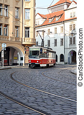 Street Railway In Prague - Vintage red cable car on narrow...