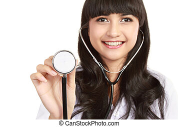 Smiling medical doctor with stethoscope.