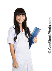 Young confident doctor woman