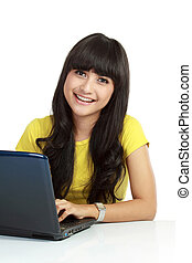 Young casual woman style with laptop isolated over white...