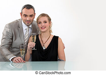 Couple toasting their anniversary