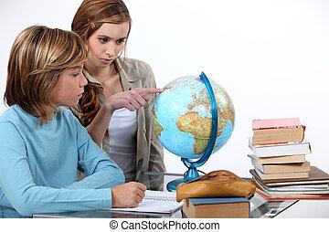 dois, crianças, geografia, classe