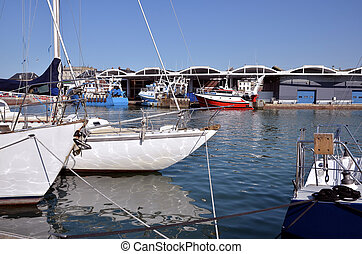 Boats in the port of Dieppe France - Boats in the port of...