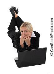 Businesswoman surfing the net