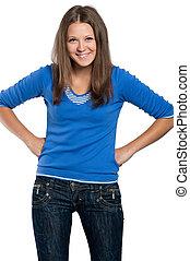 Teen girl - Portrait of a teen girl posing against white...