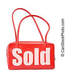 handbag with sold sign - red leather handbag with sold sign...