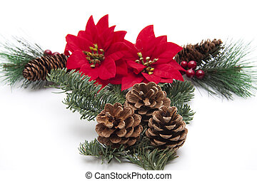 Christmas flower arrangement on white background