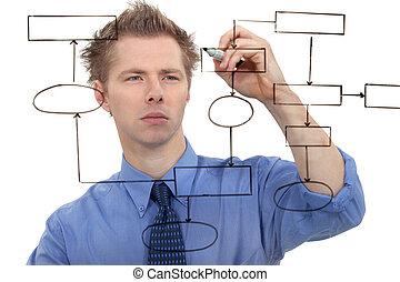 ビジネスマン, スクリーン, チャート, 図画