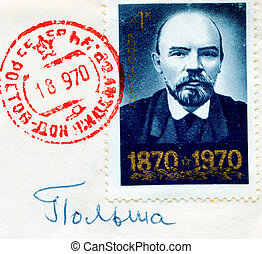 SOVIET UNION - CIRCA 1970: Lenin on Russian vintage stamp,...