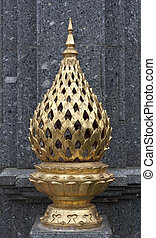 gold lamp out door thai style, use decorate at temple